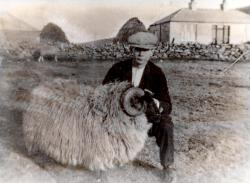 1926: Tammy Fraser with his prizewinning ram. Original Herrislea in the background